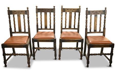 (4) Antique Carved English Side Chairs