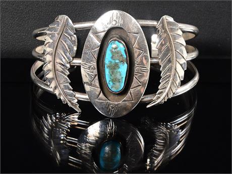Shadow Box Turquoise Navajo Cuff Bracelet
