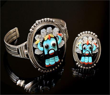 Zuni Bev Etsate Kachina Bracelet and Ring Set