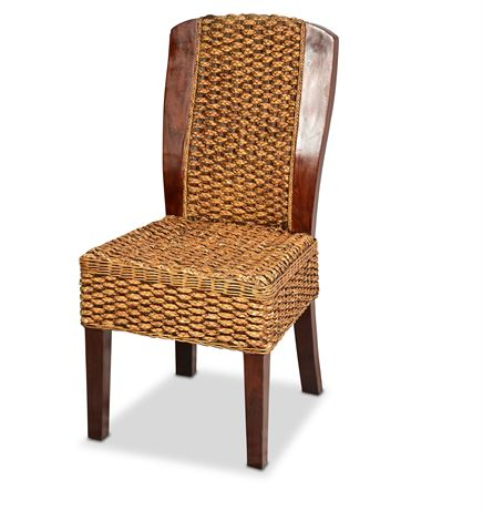 Wood and Rattan Accent Chair