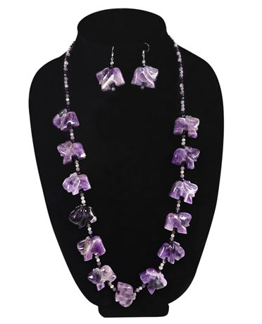Amethyst Elephant Necklace and Earring Set