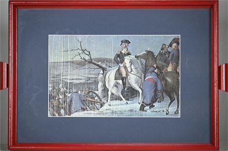 George Washington an American Revolution Print on Glass Tray