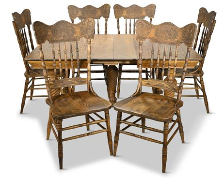 Antique Quarter Sawn Oak Five Leg Dining Table and Chairs