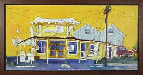 "Ann Irvine ""Fisherman's Cafe"" Original Oil on Canvas"