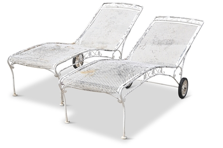 Pair Mid-Century Chaise Lounge Chairs