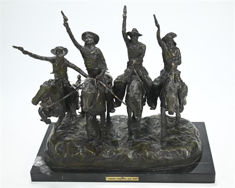 """Frederic Remington (After) """"Coming Through The Rye"""" Bronze Sculpture"""