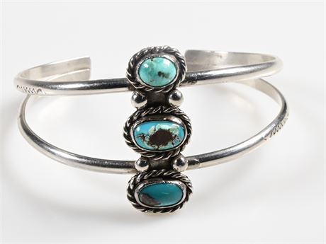 Vintage Navajo Turquoise and Sterling Silver Cuff Bracelet