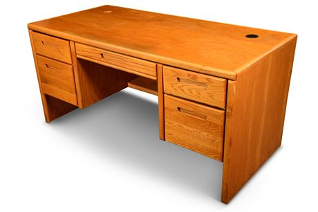 Double Pedestal Oak Desk