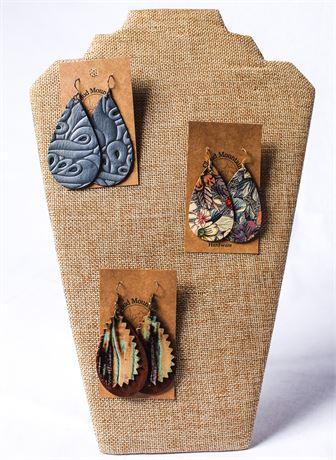 Three Genuine Leather Earrings