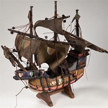Vintage Folk Art Pirate Ship