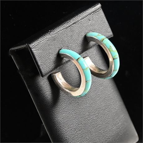 Zuni Inlaid Sterling and Turquoise Hoop Earrings