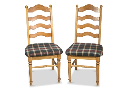 Pair Ladder Back Country Pine Chairs