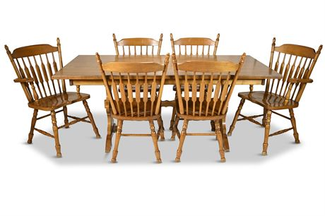 Mid-Century Maple Cochrane Colony Trestle Dining Set