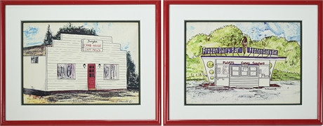 Pair J.Cawley Framed Prints