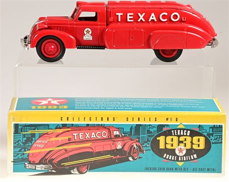 Texaco 1939 Dodge Airflow Tanker Die Cast Coin Bank with Key