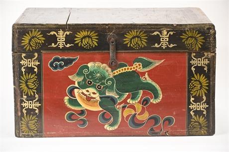 Tibetan Elmwood Polychrome Box with Snow Lion