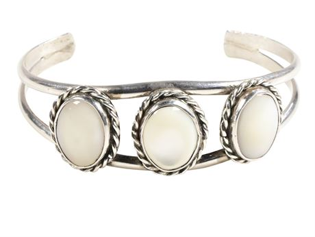 Old Navajo Pawn Mother of Pearl and Sterling Silver Cuff Bracelet