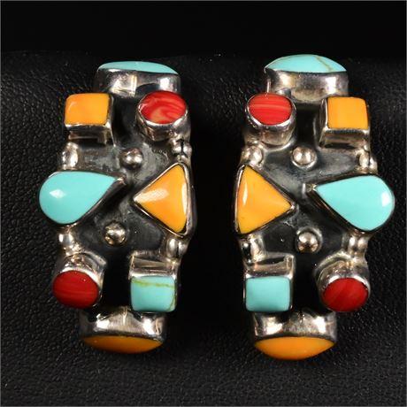 Sterling Silver & Multi-Stone Earrings