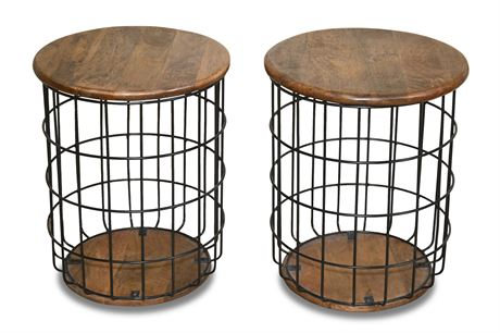 Pair Wood and Wire Basket End Tables