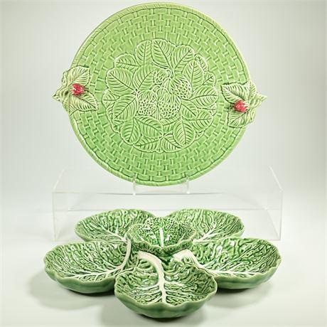 Bordallo Pinheiro Cabbage Leaf Snack Set +