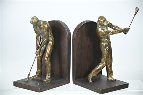 Pair Resin Golf Bookends