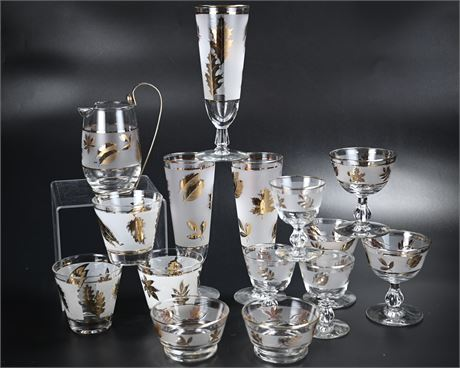 1950's Libbey Frosted Gold Leaf Barware