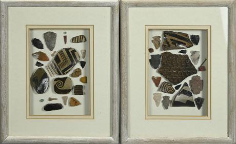 Framed Pottery Shards and Arrowheads