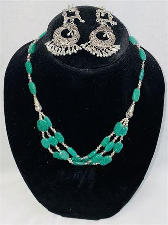 Green Opal Necklace & Earring Set