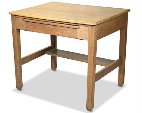 Antique Oak Student Desk by Burkhardt