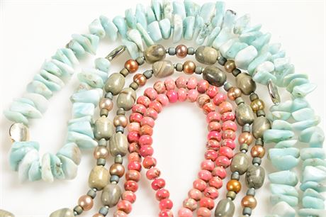 (3) Beaded Stone Necklaces