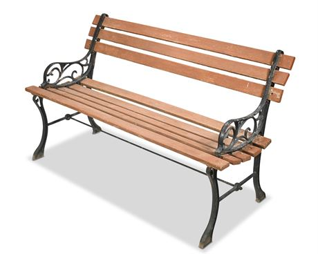 Park Style Iron and Wood Bench