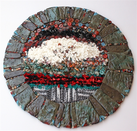 Kathy Baker and Vickie Morrow Textile and Ceramic Wall Art