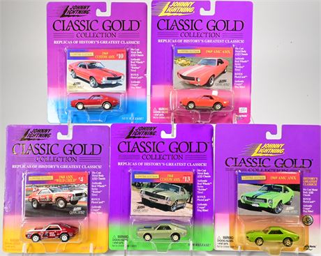 (5) Johnny Lightning Classic Gold Cars