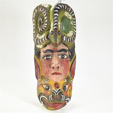 Vintage Mexican Folk Art Totem Style Mask
