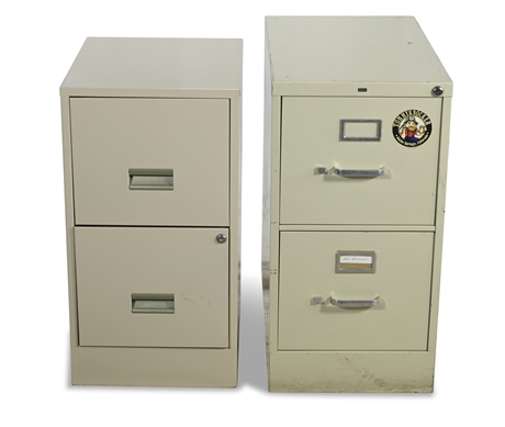 Pair Metal File Cabinets