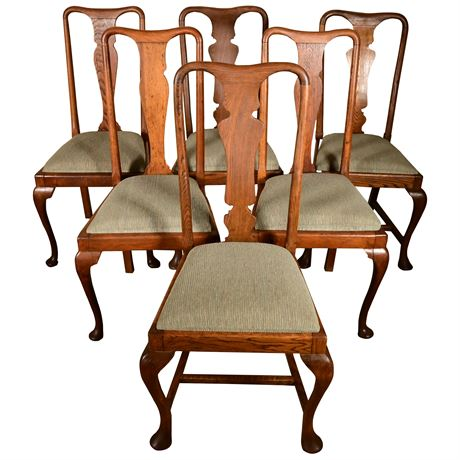 Antique Queen Anne Oak Dining Chairs