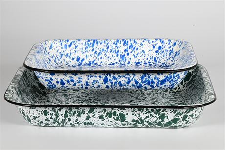 Speckled Enamelware Rectangular Casserole Dishes