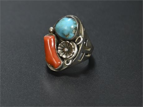 Vintage Sterling, Turquoise, and Coral Ring