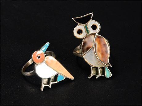 Pair Vintage Zuni Rings