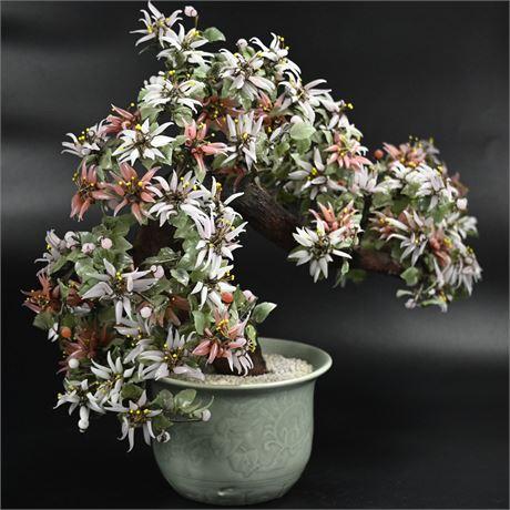 Vintage Glass Cherry Blossom Bonsai Tree