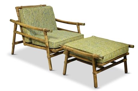 John Wisner Ficks Reed Rattan Side Chair and Ottoman