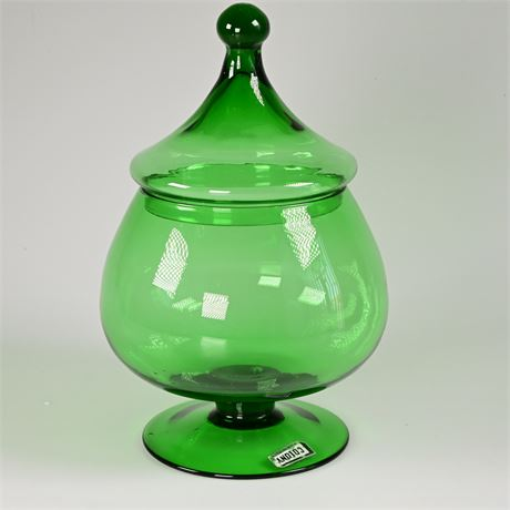 Vintage Hand Blown Colony Tear Drop Green Glass Apothecary Jar