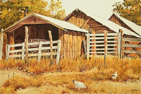 """Jean Martin """"Wagon in Barn"""""""