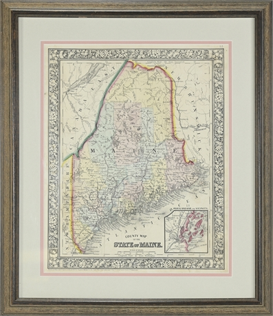 Antique Map ~ State of Maine, Mitchell - 1860