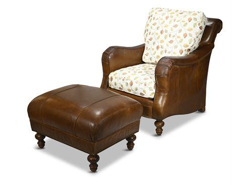 Paul Robert Custom Leather Armchair with Ottoman