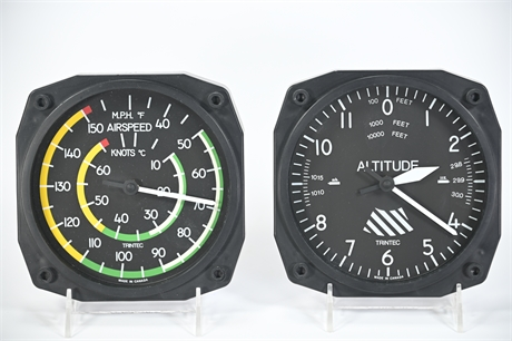 TrinTec Altimeter and Airspeed Clock and Thermometer Set