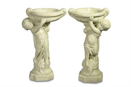 Pair Decorative Plaster Cherubs