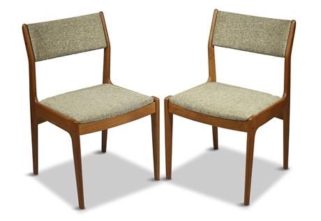 Pair Scandinavian Teak Chairs