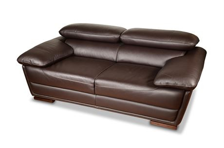 Copenhagen Leather Adjustable Headrest Sofa