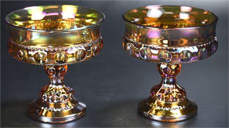 Pair Vintage Kings Crown Amber Carnival Glass Pedestal Dishes
